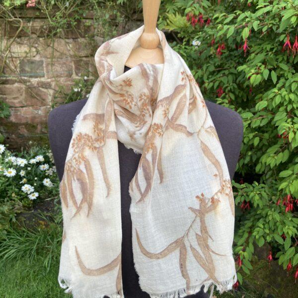 Fine wool scarf handprinted with eucalyptus SC18