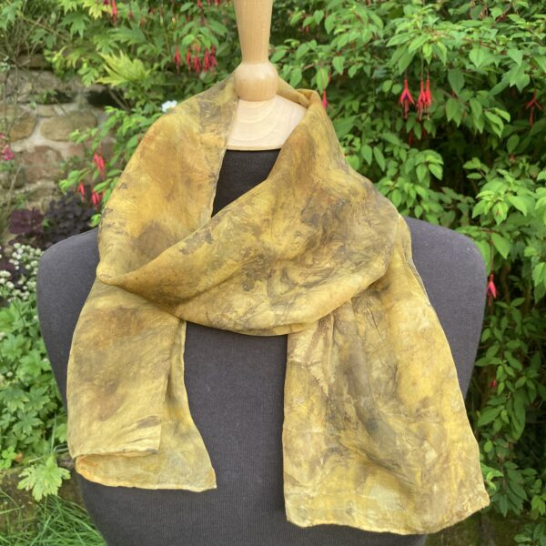 Silk scarf with collage of leaves