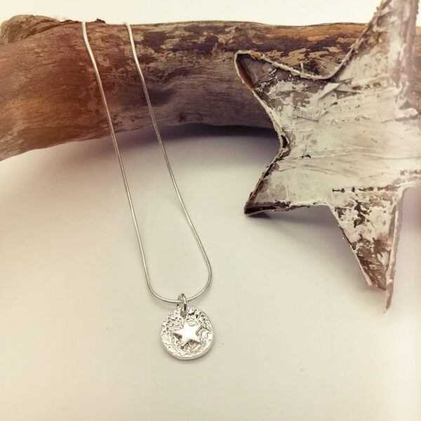 Firetree,Domed Silver Star Charm Recycled Silver