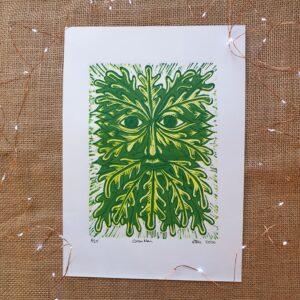 Minouche, Green Man, Reduction Lino Print