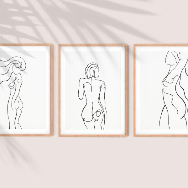 Nude Line art, Minimalist Giclee Line Art Prints, Splash and Line