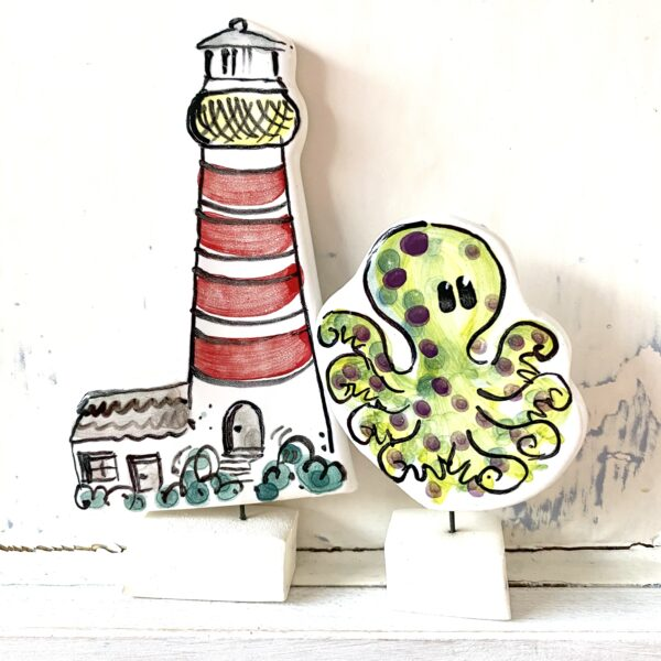 Octopus and Lighthouse pottery ornaments Louise Crookenden-Johnson ceramics