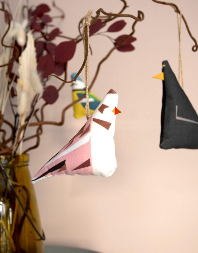 Twenty Birds Velvet bird hanging decoration, snowbunting