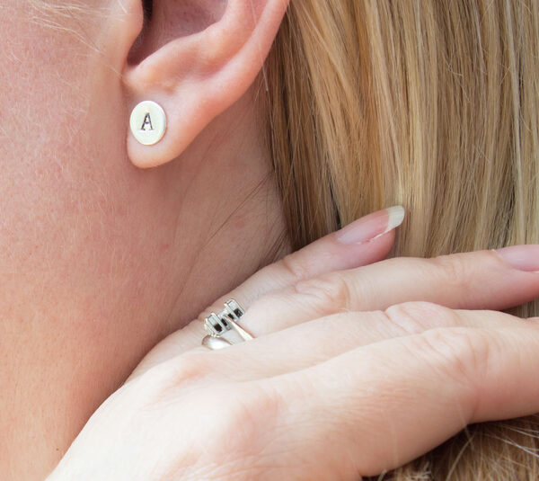 The Little Red Hen recycled silver initial personalised stud earrings