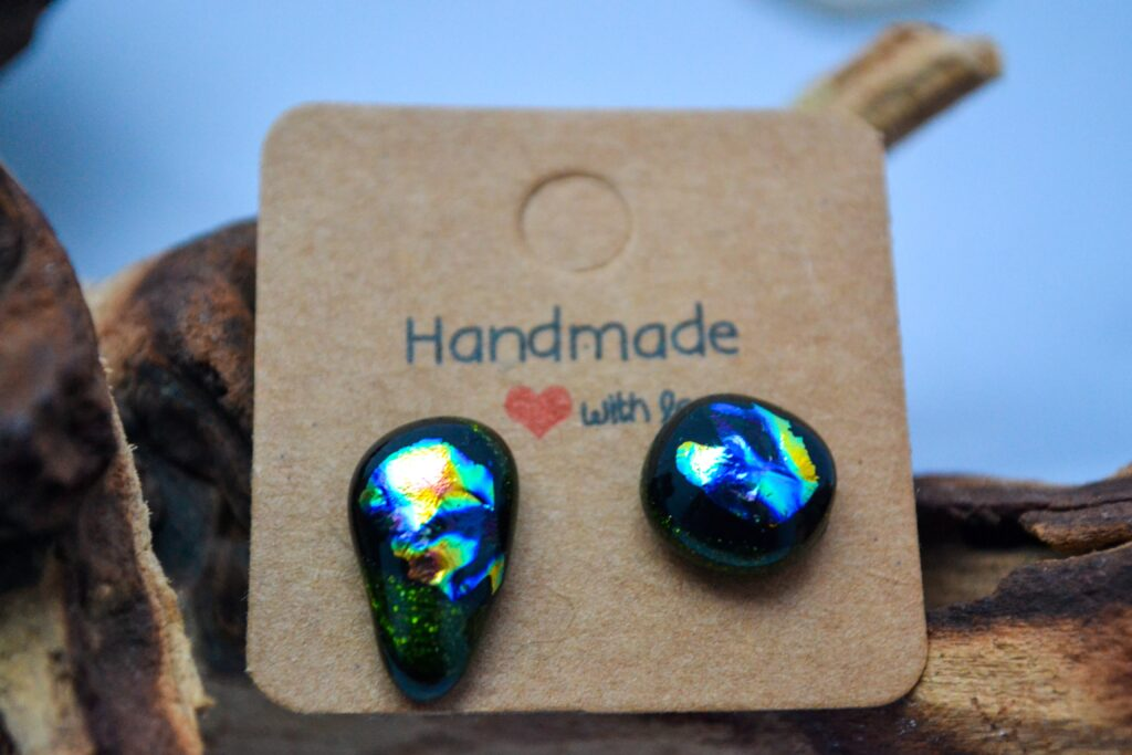 Aria Creations Floral Fusion Mixed Fused Glass Ear Studs