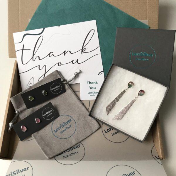 LorriSilverjewellery, packaging box, tourmaline earrings