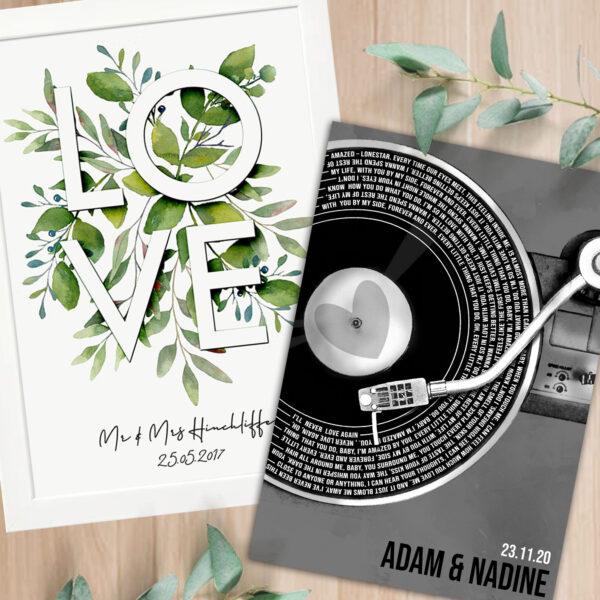 Amyliz Design personalised love and custom song lyric prints