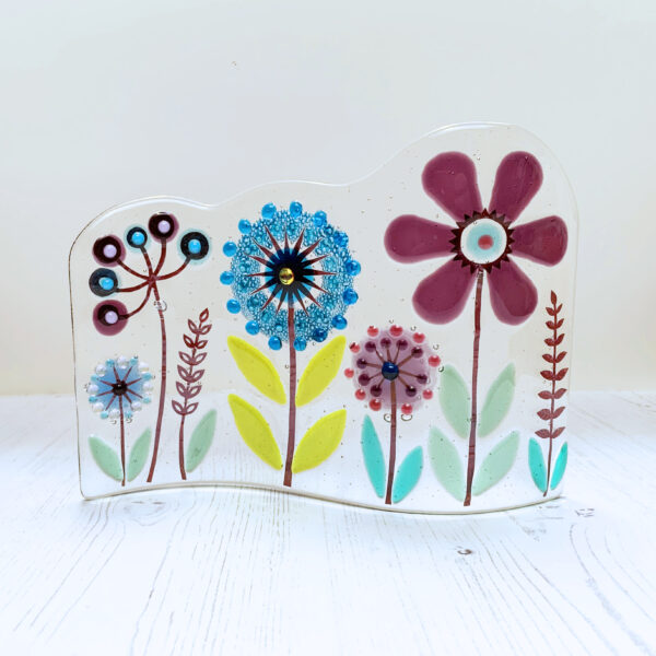 Blue Design Shed Botanical Wave. Fused glass floral design
