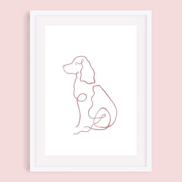 Cocker Spaniel, Minimalist Line Art Dog Giclee Print