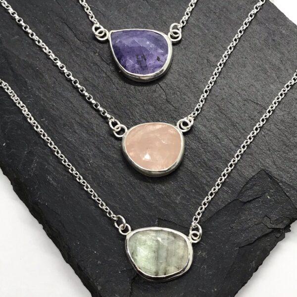 LorriSilverJewellery, gemstone necklaces, tourmaline necklace, tanzanite necklace, morganite necklace