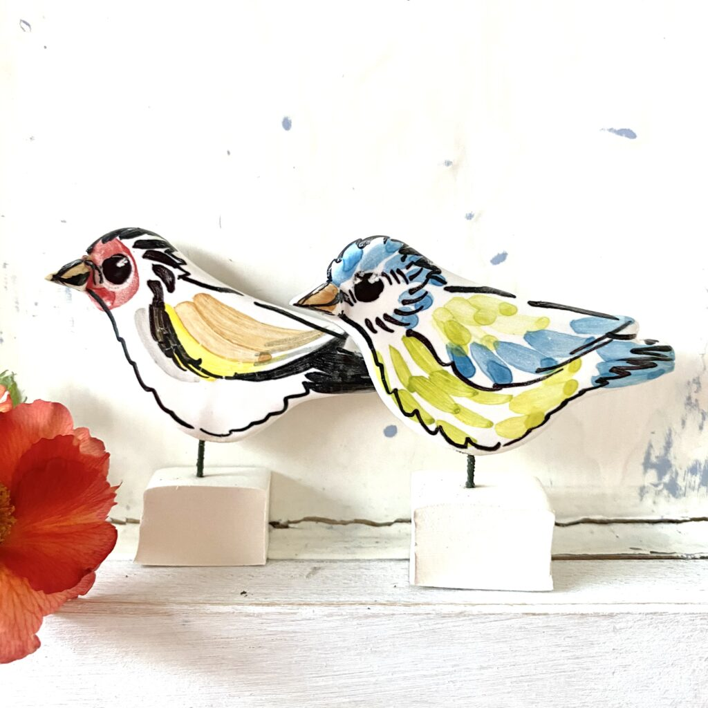Goldfinch and blue tit ceramic pottery ornaments Louise Crookenden Johnson