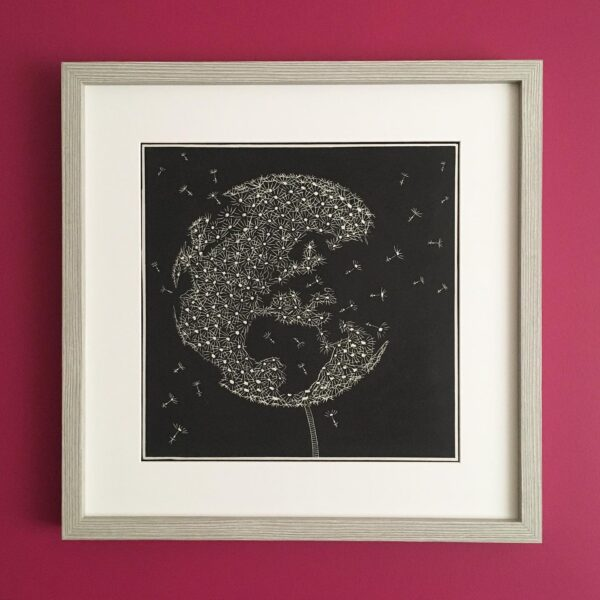 "MegaLilyDesign, Linocut Print, ""Delicate World"", Limited Edition"