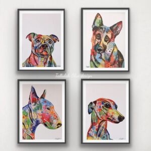 Tallulah blue design, Colourful dog prints