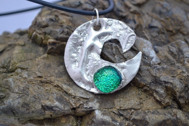 Aria Creations Byron Wave Fused Glass Silver Pendant Jade