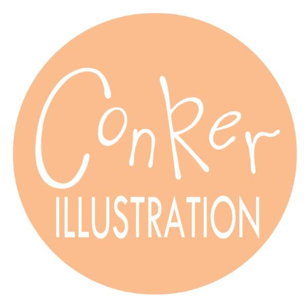 Conker Illustration, Logo orange and white