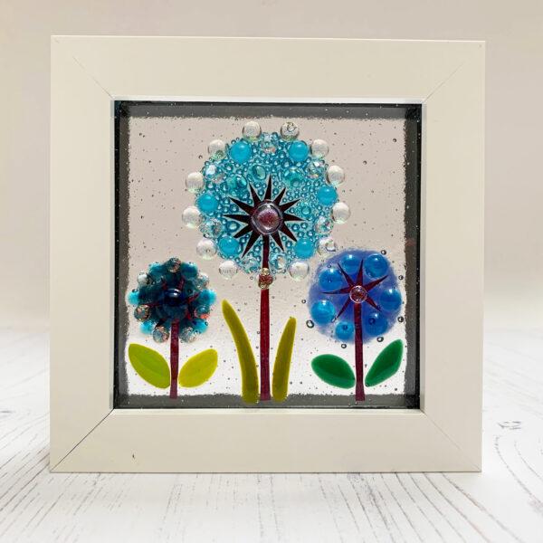 Blue Design Shed Framed Alliums. Fused glass framed picture