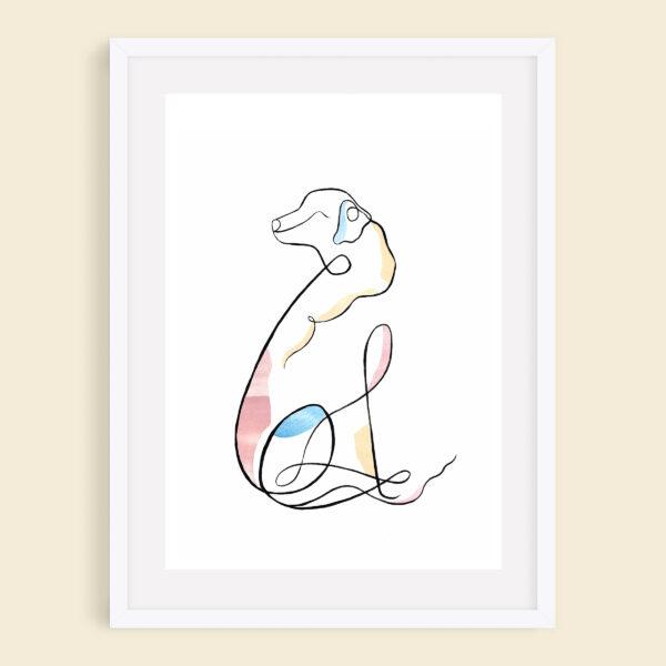 Golden Retriever Minimalist Line Art Giclee Print, Splash and Line