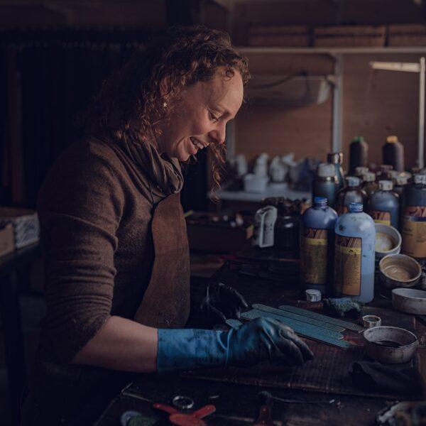 Heather in her Workshop