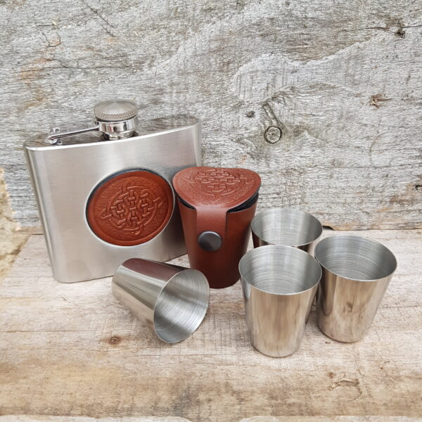 Hip flask and leather Dram Glass case Set