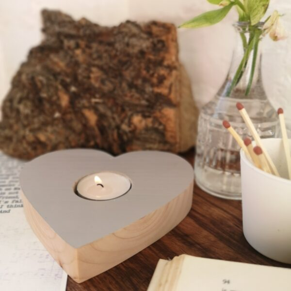 Ivy Upcycling Heart Tealight holder made from waste wood with light grey painted top and natural wood sides