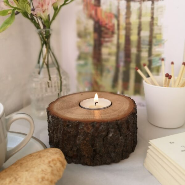 Ivy Upcycling Bark Tealight holder, Medium single tealight