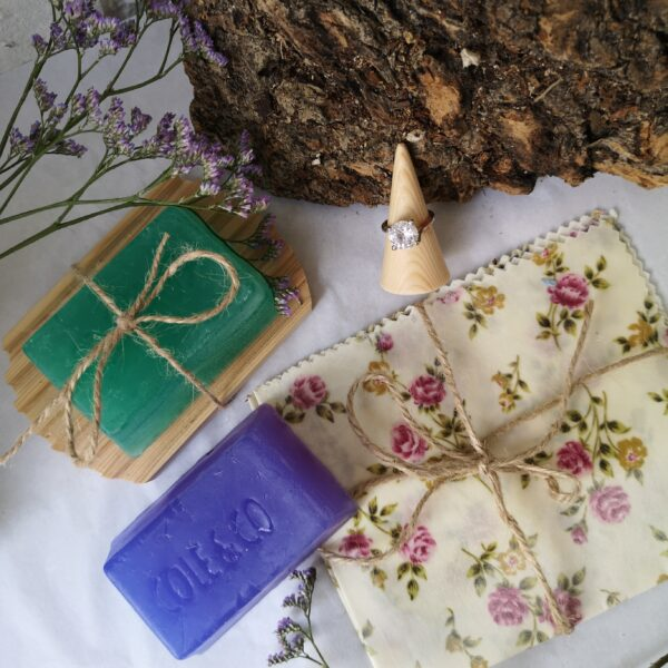 Ivy Upcycling Eco Gift Set with Wooden Soap tray, Handmade soaps from Cole and Co, a wax wrap and wooden cone ring holder