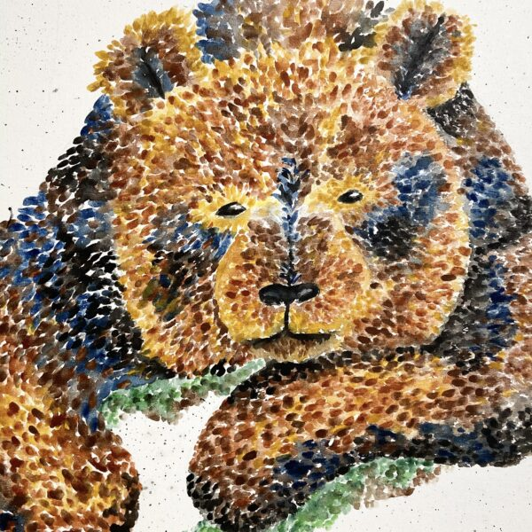 Katie Crossland Art, Billy, Watercolour Bear Painting, Colourful Art on Canvas