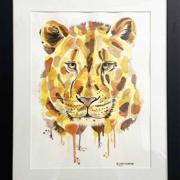 Katie Crossland Art, Lioness Watercolour Painting, Colourful Framed Artwork