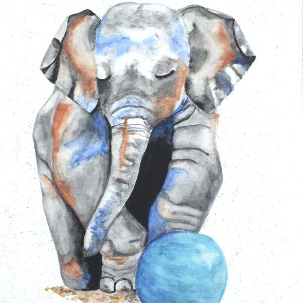 Katie Crossland Art, Elephant Watercolour Painting, Blue, Colourful Artwork on Canvas