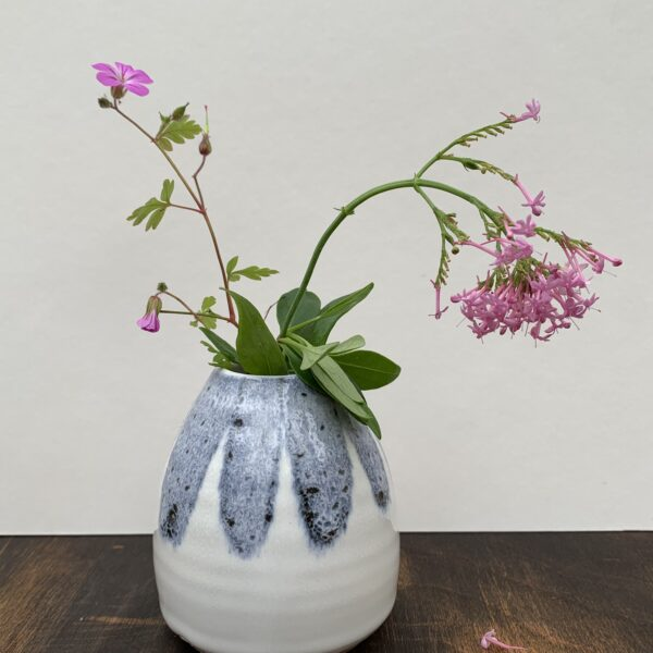 Rachel Carpenter Ceramics, Blue and White Bud Vase with pink flowers