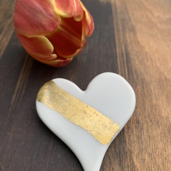 Rachel Carpenter Ceramics, Porcelain Heart Brooch with Gold Leaf