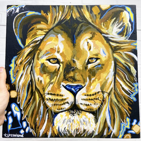Katie Crossland Art, Brave, Mixed Media Lion Painting, Colourful Art on Canvas