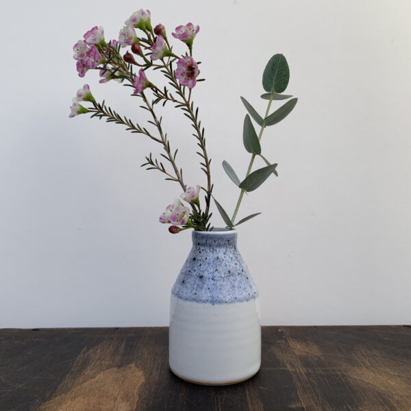 Rachel Carpenter Ceramics, White Bud Vase with blue band around the neck of the vase