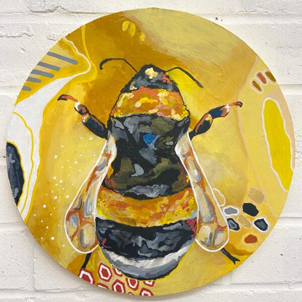 Katie Crossland Art, The Flight, Mixed Media Bee Painting, Colourful Art on Canvas