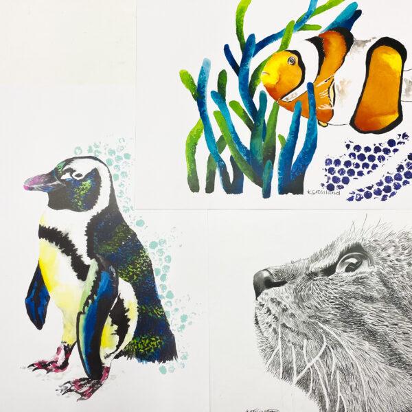 Katie Crossland Art, Various Art Prints, Penguin, Fish, Cat, Black and White, Colourful Artworks on Paper