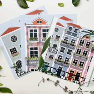 Green Door Studio London, Portugal Postcards set of 3 with tiled houses