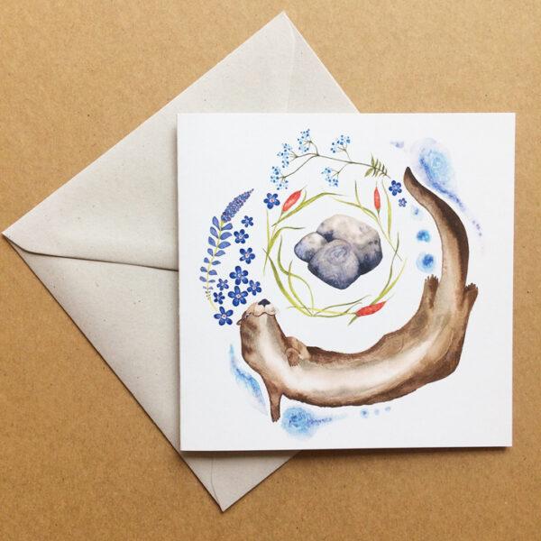deer dawn art, Image Playful Otter greeting card