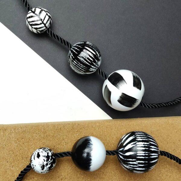 3 BALL NECKLACE. HAND PAINTED WOODEN STATEMENT NECKLACE. JENNIFER LEMON DESIGNS. HANDMADE IN SCOTLAND