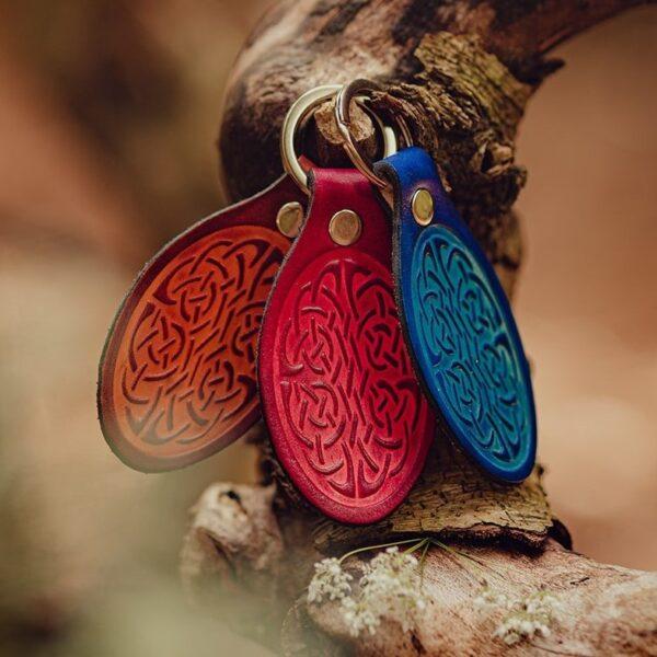 Leather celtic design keyrings