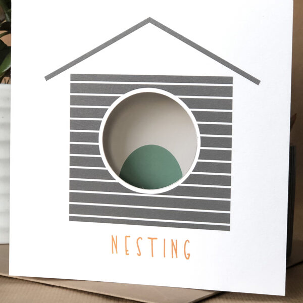 Twenty Birds Nesting card with circle cut out to reveal image inside
