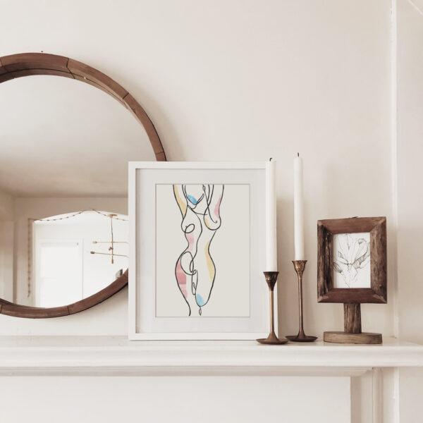 Nude Line Art, Minimalist Collage Artwork