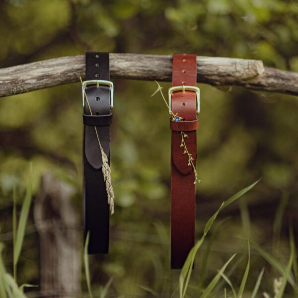 Black and brown leather belts