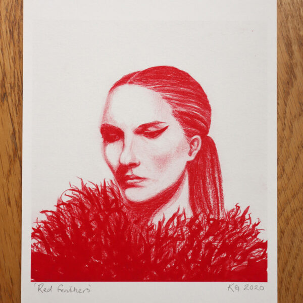 KamsArthouse Red pencil head study with feathers