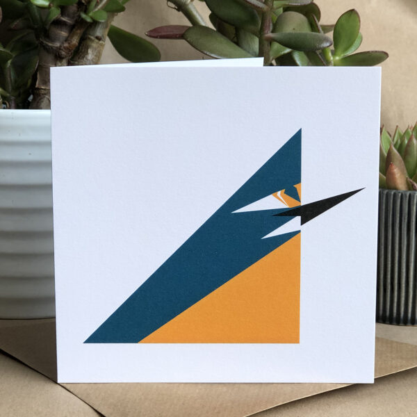 Twenty Birds Small Card with a kingfisher on the front. The inside is left blank