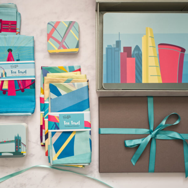 South Island Art Colourful Geometric Style Homeware Gifts, Tea towels, coasters and placemats