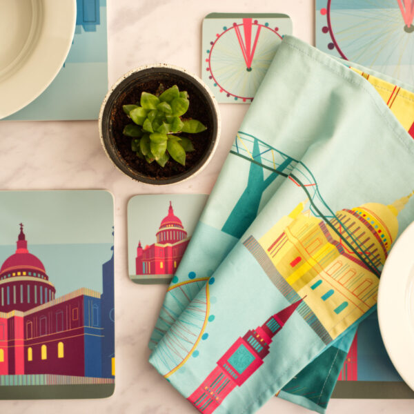 South Island Art, London Themed Placemats, Coasters and Tea Towel on Dining Table