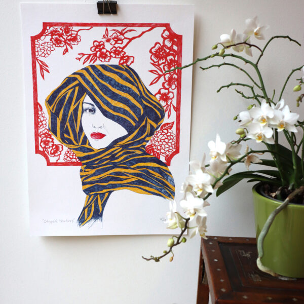 KamsArthouse Pen and Ink drawing of head study with stripy scarf and red Japanese cut paper design