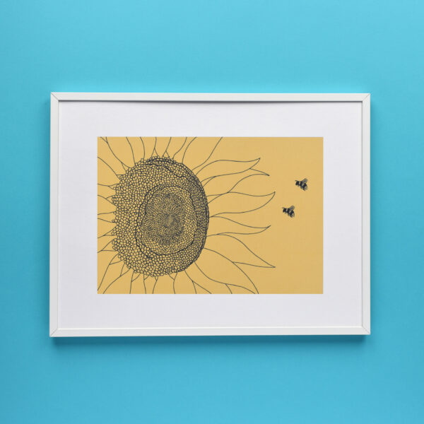 Conker Illustration, 2 Bees and 1 Sunflower Art Print in a white frame on a blue wall