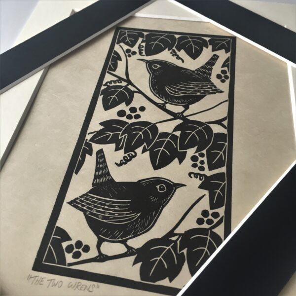 "MegaLilyDesign, Linocut Print, ""The Two Wrens"""