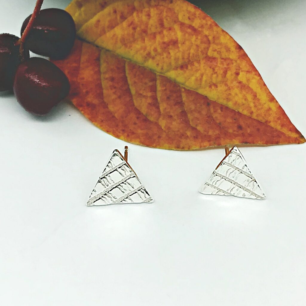 Firetree, Triangular modern ear studs, recycled silver